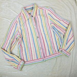 Vintage 90's 00's Rainbow Pinstripe Denim Jacket